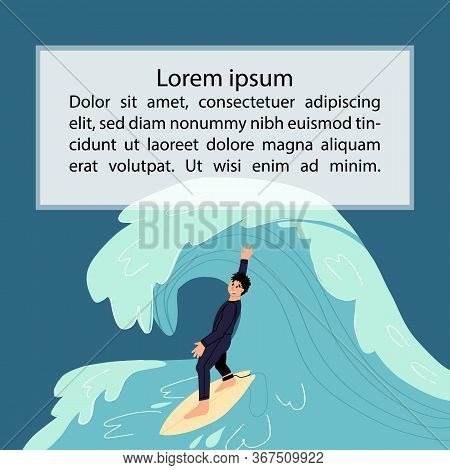 Surfboarding Template With Young Happy Surfer Sportsmen In Wetsuit On Surfboard Catches The Wave. Co