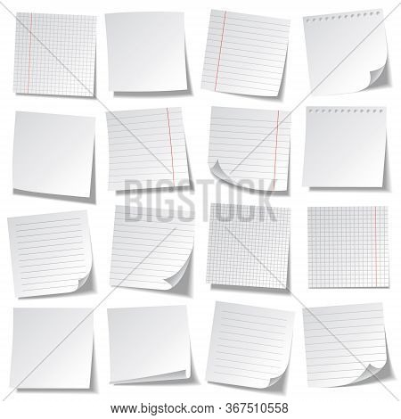 Realistic Lined Sticky Notes. Blank Note Paper Sheets. Information Reminder. Vector Illustration.