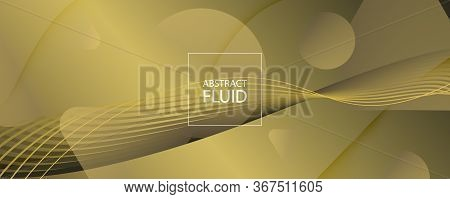 Abstract Vector Curve. Golden Geometric Landing Page. 3d Flow Lines. Minimal Banner. Gold Abstract V