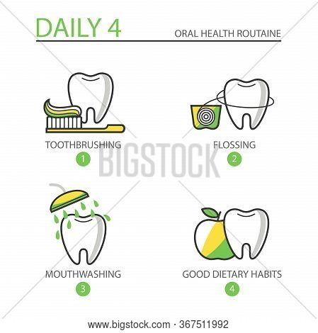 Dental Icons. Daily Routine For Maintaining Excellent Oral Health. Tooth With A Brush, Floss, Mouthw