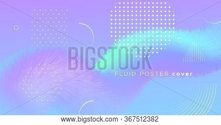 Vibrant Background. Pastel Trendy Design. Vector Geometric Pattern. Fluid Gradient Movement. Wave 3d
