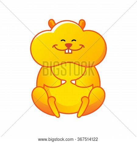 Cartoon Hamster Sitting In The Lotus Position. Illustration Positive Emotions. Modern Character Desi