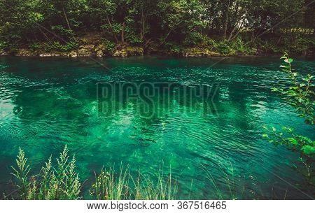 Pristine Crystal Clear Waters Of Norwegian River With Surrounding Trees And Vegetation.