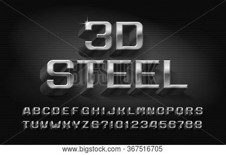 3d Steel Alphabet Font. Metallic Letters And Numbers With Shadow. Stock Vector Typescript For Your T
