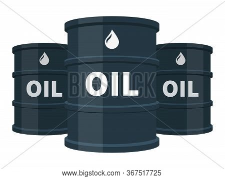 Three Black Oil Barrels Isolated, Fuel, Gasoline, Petroleum, Flat Vector Illustration On White Backg