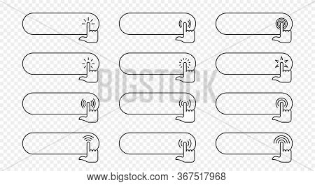 Click Here Vector Web Button. Isolated Website Buy Or Register Bar Icon With Hand Finger Clicking Cu