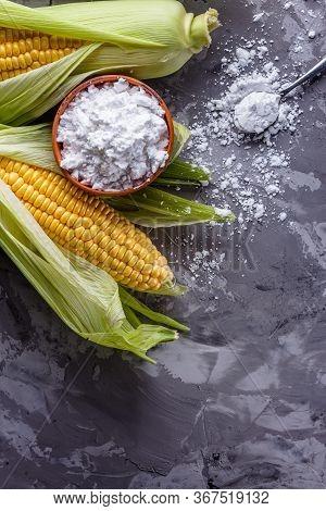 Corn Starch On A Dark Stone Background