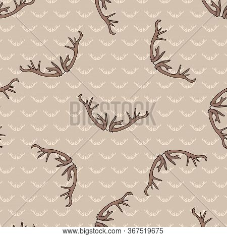 Kawaii Deer Antler Seamless Pattern. Hoof Print Flat Color Background. Hand Drawn Forest Animal Horn