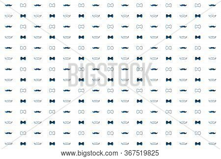 Bow Tie And Moustache Seamless Pattern. Father S Day Background