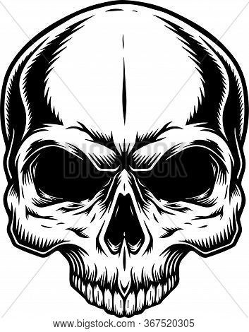 Skull Simple Line Art Vector Image Black White