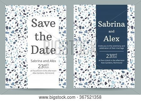 Wedding Invitation With Terrazzo Pattern. Set With Invitation And Save The Date Card On Blue Terrazz