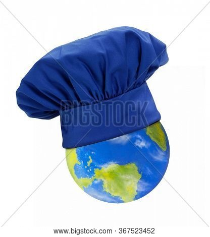 Planet earth with chef cap on world gastronomy concept on white