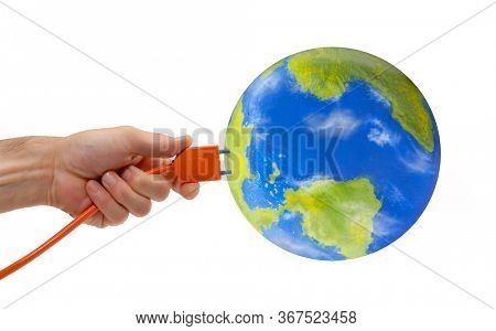World connection with electric cable plugin concept on white background.