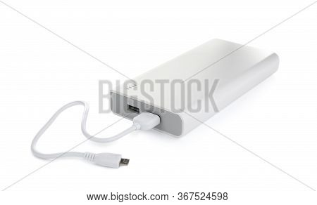 Modern External Portable Charger With Cable Isolated On White