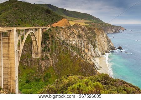 View Of The Bixby Creek Bridge On The Famous Road Number 1, Cabrillo Highway, Monterey, California,