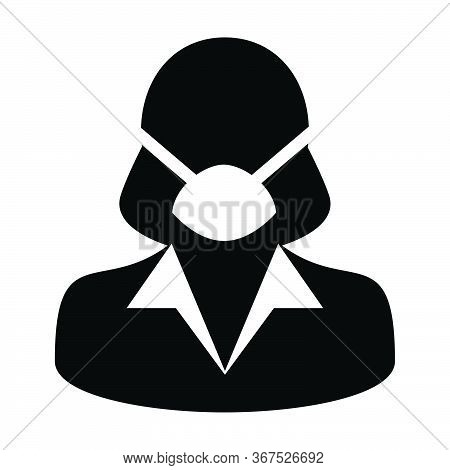 Mask Icon Vector Person Profile Female Avatar Symbol For Medical And Health Care Protection In A Gly