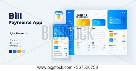 Utility Taxes Payment App Screen Vector Adaptive Design Template. Water And Electricity Invoices App