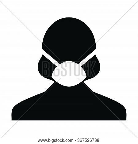 Mask Icon Vector For Virus Safety Protection Person Profile Female Avatar Symbol For Medical And Hea