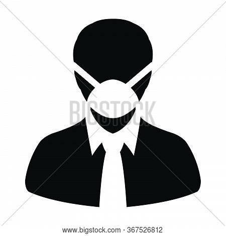 Respirator Mask Icon Vector For Virus Safety Protection Person Profile Male Avatar Symbol For Medica