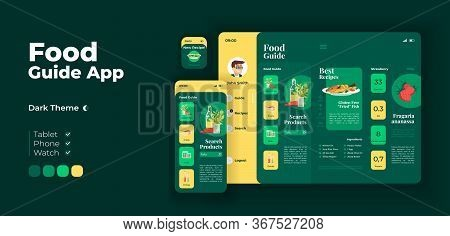 Search For Food Products App Screen Vector Adaptive Design Template. Fresh Dinner Ingredients Applic