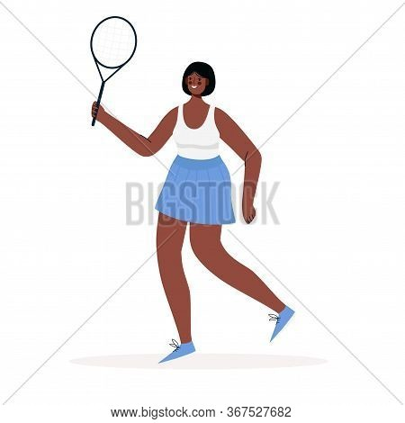 Woman Dressed In Sportswear Playing Tennis. Sportswoman Holding Racket And Hitting Ball Isolated On