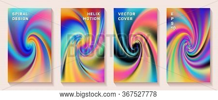 Gradient Spiral Rotation Cover Page Templates Vector Set. Abstract Brochure Front Pages Collection.