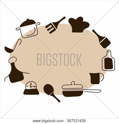 Cooking. Oval Frame For Cutlery, Kitchen Accessories. Doodle Style, Hand-drawn Cutlery . Space For T