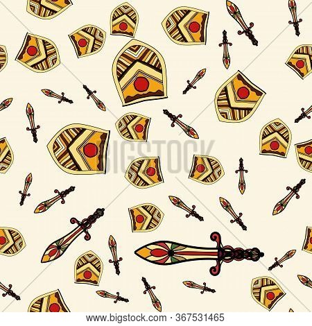 The Endless Pattern Consists Of Stylized Shields And Swords. A Good Pattern For Children S Room Wall