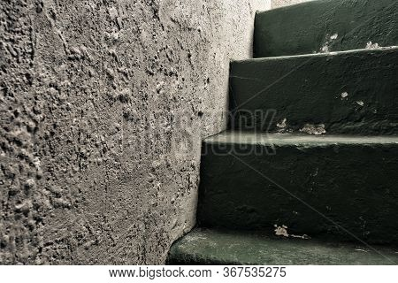 Old Historic Dungeon Or Basement Stairs, Abandoned Stairs Close-up Background