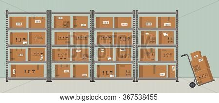 Warehouse. Storage. Shelvings With Cardboard Boxes. Warehouse Racks. There Is Also A Work Trolley Wi
