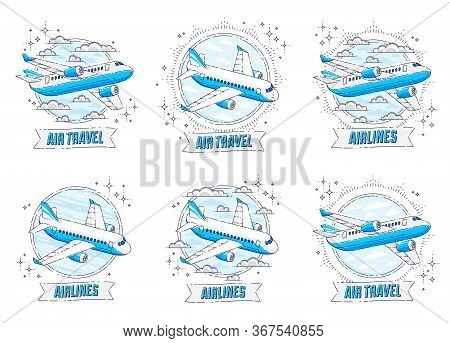 Airlines Air Travel Emblems Or Illustrations With Plane Airliner, Round Shape And Ribbon With Typing