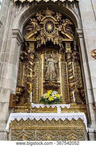 Arouca, Portugal - September 08, 2019: View Of The Gilded Altarpiece Of St. Bernard In The Church Of
