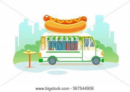 Poster With Hot Dog Food Truck In Park On City Background. Summer Fast Food Festival Isolated Vector