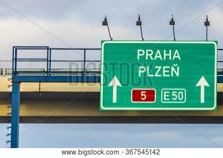 Signage Praha (prague) And Plzen (pilsen) At Europa Highway Number 50 And Highway No 5 At A Bridge