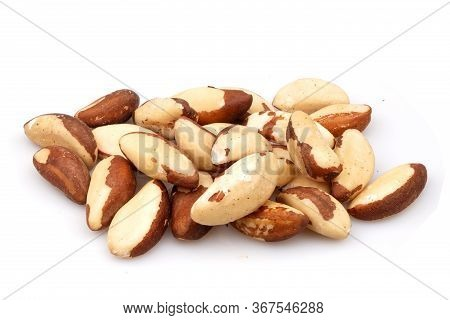 Organic Brazil Nuts Isolated On White Background