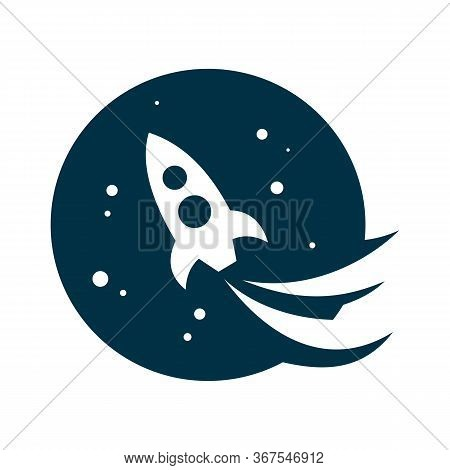 Rocket Start Vector Icon From Astronomy. Orange Rocket Start Sign. Rocket Start Icon Can Be Use For