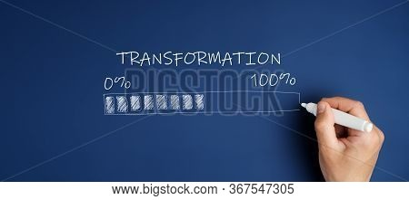 Digital Transformation Concept. Hand Draws Loading Area From 0 To 100 Percent