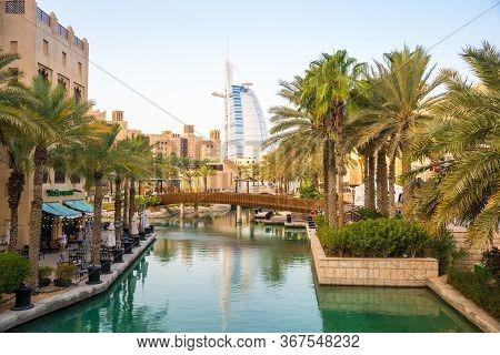Dubai, Uae - November 19, 2019: View Of Burj Al Arab Hotel From Madinat Jumeirah Hotel. Madinat Is A
