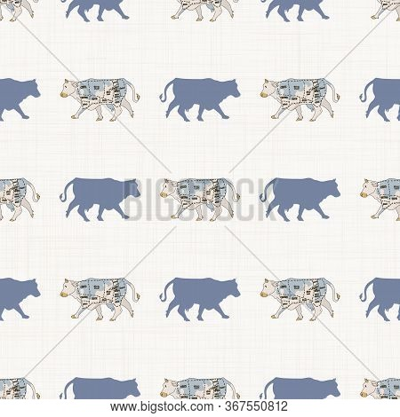 Seamless French Farmhouse Cow With Cut Chart Silhouette Pattern. Farmhouse Linen Shabby Chic Style.