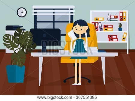 Businesswoman Sitting On Chair In Office And Reading Paper Documents. Front View. Color Vector Flat