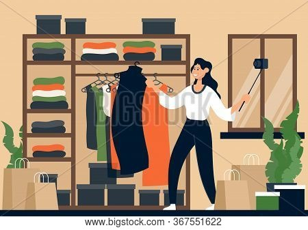Girl Chooses Clothes And Shoots Video On Phone. Color Vector Flat Cartoon Icon. Concept For Stylist
