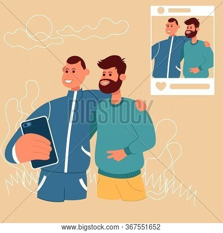Guy Make Selfie With Friend And Publishing. Color Vector Flat Cartoon Icon. Concept For Blogger.
