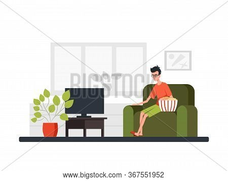 Man Sits On A Sofa, Eats Big Bucket Popcorn And Watches Tv. Front View. Color Vector Cartoon Flat Il