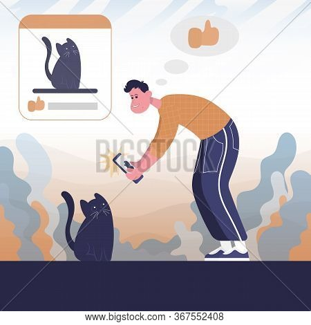 Guy Takes A Picture Of A Cat And Publishes. Color Vector Flat Cartoon Icon. Concept For Blogger.