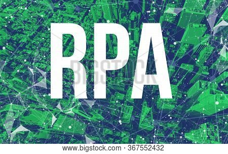 Robotic Process Automation Rpa Theme With Abstract Network Patterns And Manhattan Ny Skyscrapers