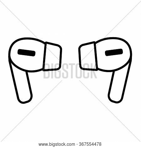 Wireless Earphones Icon, Outline Style Line Design Air Pods Vector