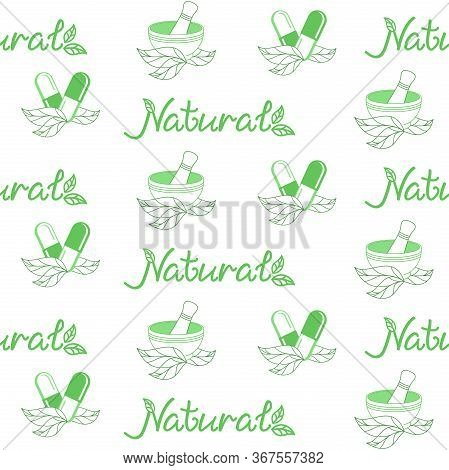 Green Medical Background. Vector Seamless Pattern For Herbal Medicine, Green Pharmacy, Alternative M
