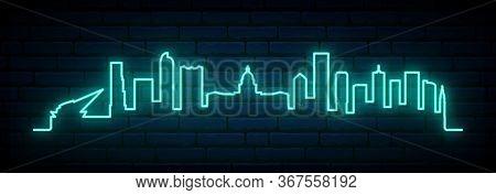 Blue Neon Skyline Of Denver City. Bright Denver Long Banner. Vector Illustration.