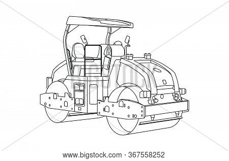 Construction Equipment Road Roller. Children Linear Drawing For Coloring. Vector On White Isolated O