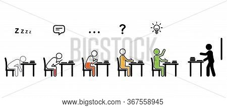 Variety Of Students' Behaviors Sitting At Desks In A Classroom While Teacher Lecturing, In Black Sti